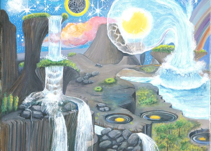 Landscape Greeting Card featuring the painting Nocturnal Biohydroloft by Rr Cabarga