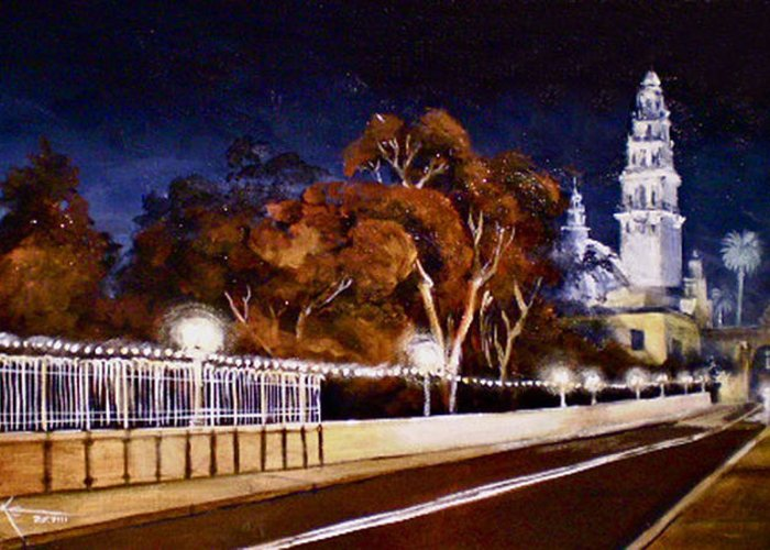 Cityscapes Greeting Card featuring the painting Nocturnal Cabrillo by Duke Windsor