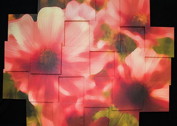 Flower Greeting Card featuring the sculpture Nocturnal Pinks Photo Sculpture by Michael Bessler