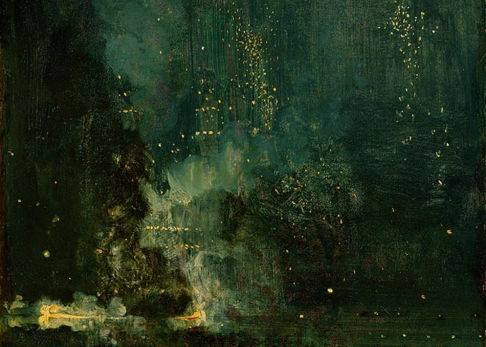 Nocturne Greeting Card featuring the painting Nocturne In Black And Gold - The Falling Rocket by James Abbott McNeill Whistler