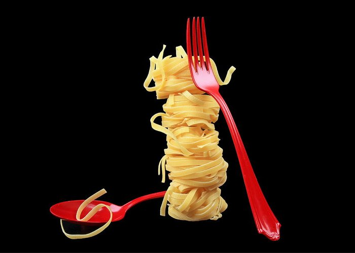 Noodles Greeting Card featuring the photograph Noodles-pasta by Manfred Lutzius