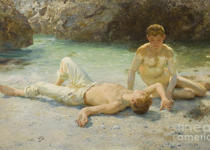 Boy; Boys; Nude; Lying; Lounging; Children; Youths; Youth; Innocent; Hot; Sun Bathing; Sunbathing; Sea; Beach; Coastal; Tanning; Tan; Coastal; Bather; Leisure; Homoerotic; Homosexual; Newlyn School Greeting Card featuring the painting Noonday Heat by Henry Scott Tuke