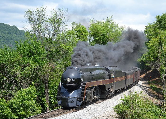 611 Greeting Card featuring the photograph Norfolk and Western Class J #611 by Steve Gass
