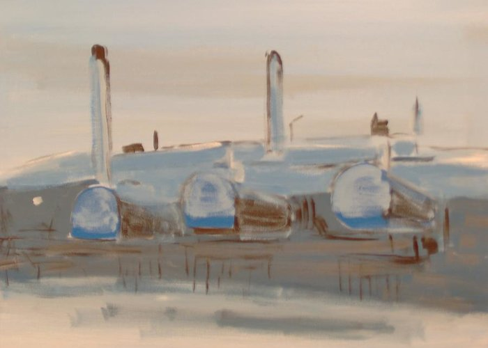 Industrial Landscape Greeting Card featuring the painting Norman Wells Boiler House In Winter by Lloyd Bast