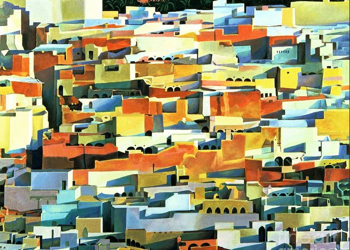 Town; Urban; Flat Roofs; Roof; Africa; Moorish Architecture; African; Townscape; North Africa; Colorful; House; Houses Greeting Card featuring the painting North African Townscape by Robert Tyndall