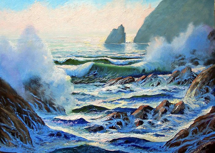 Seascape Greeting Card featuring the painting North Coast Surf by Frank Wilson