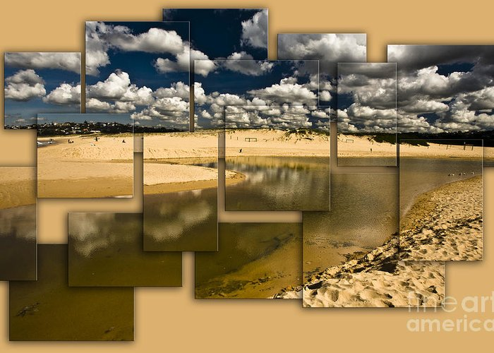 Collage Greeting Card featuring the photograph North Curl Curl Lagoon collage by Sheila Smart Fine Art Photography
