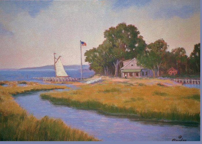 Land And Sea Scape Greeting Card featuring the painting North Fork Li Bay Scene by David Olander