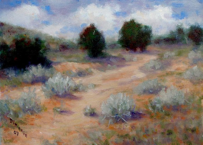 Realism Greeting Card featuring the painting North Of Santa Fe by Donelli DiMaria