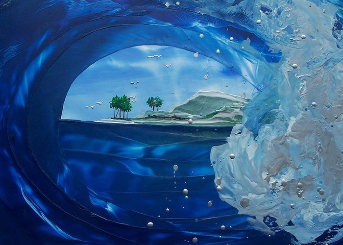 Wave Greeting Card featuring the painting North Shore Window Barrel Right by Danita Cole