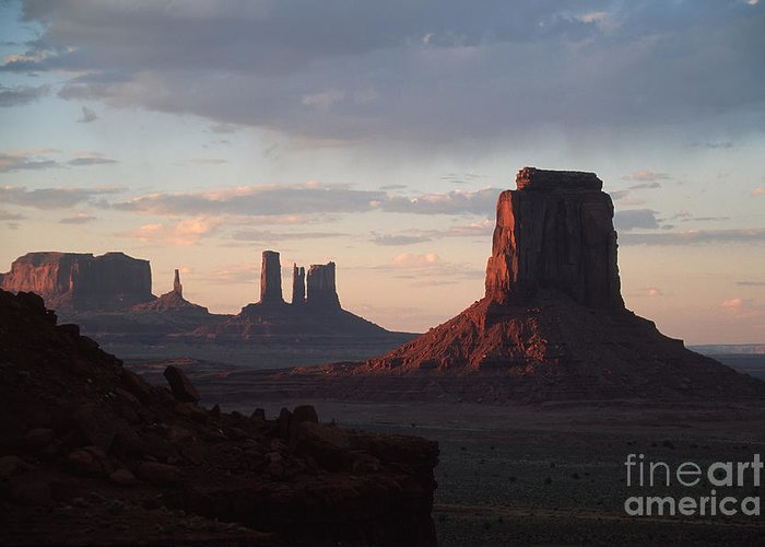 Monument Valley Greeting Card featuring the photograph North Window At Sunset by Stan and Anne Foster