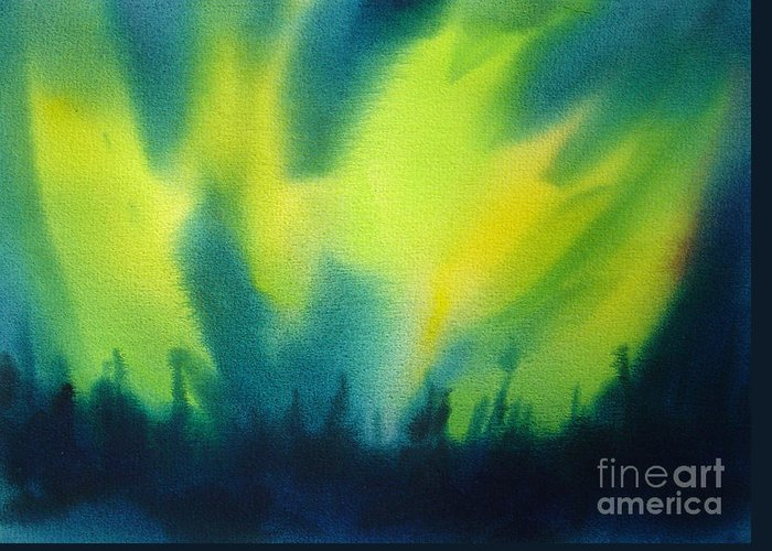 Paintings Greeting Card featuring the painting Northern Lights I by Kathy Braud