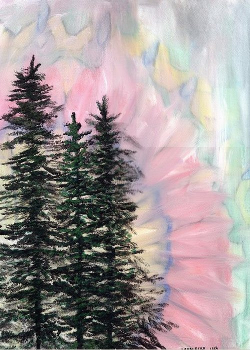 Northern Lights Greeting Card featuring the painting Northern Lights by Jennifer Skalecke