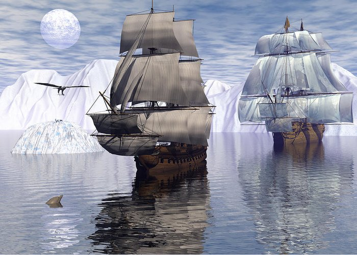 Bryce 3d Fantasy tall Ships Windjammer Greeting Card featuring the digital art Northern Passage by Claude McCoy