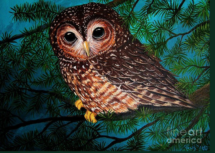 Owl Painting Greeting Card featuring the painting Northern Spotted Owl by Nick Gustafson