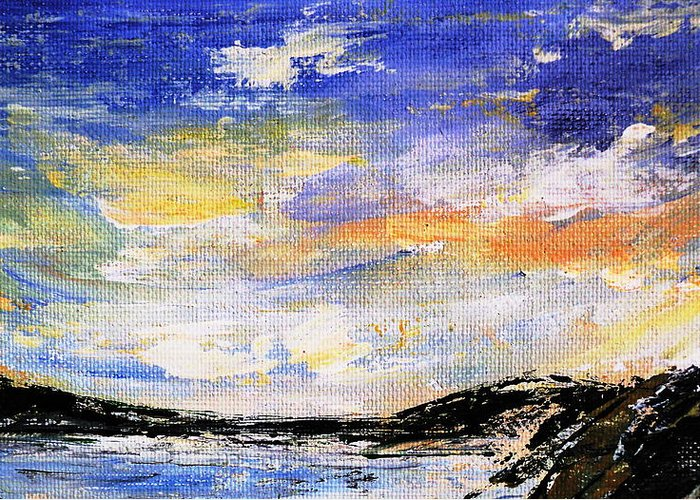 Landscape Greeting Card featuring the painting Northern Tundra by Janice Robertson