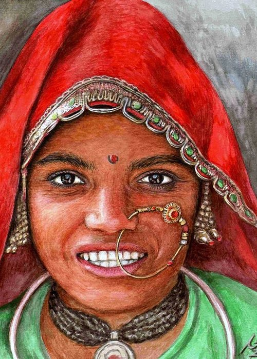 Woma Greeting Card featuring the painting Northindian Woman by Nicole Zeug