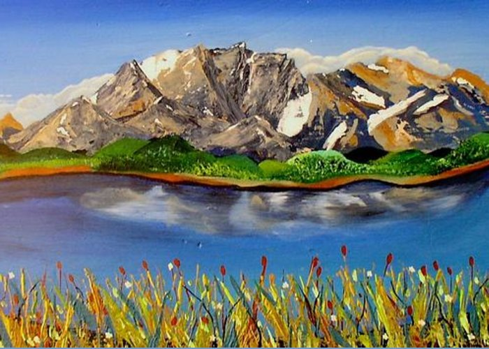 Water Greeting Card featuring the painting Northwest Mountain Scene by Valerie Josi
