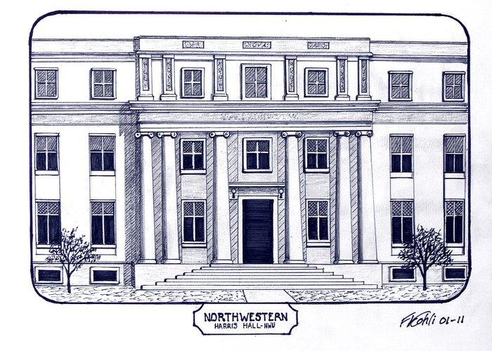 Northwestern University Buildings Drawings Greeting Card featuring the drawing Northwestern by Frederic Kohli
