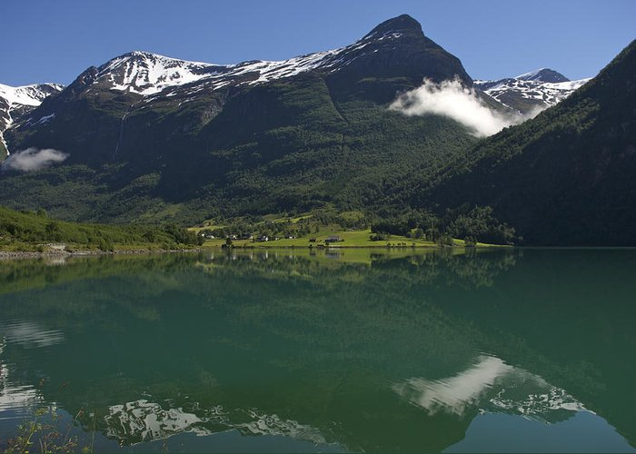 Nobody Greeting Card featuring the photograph Norway, Briksdal Glacier At Jostedal by Keenpress