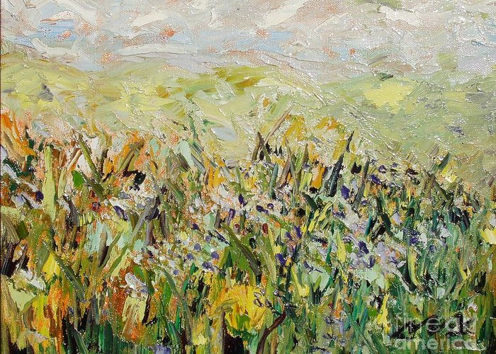 Field Paintings Greeting Card featuring the painting Nose Hill by Seon-Jeong Kim