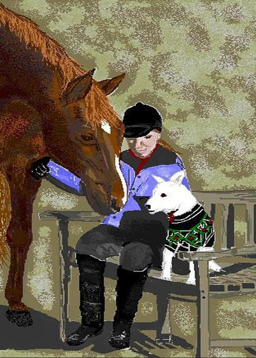 Horses Greeting Card featuring the digital art Nose To Nose by Carole Boyd