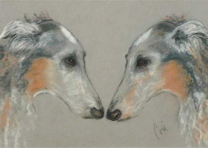 Dog Greeting Card featuring the drawing Nose To Nose by Cori Solomon