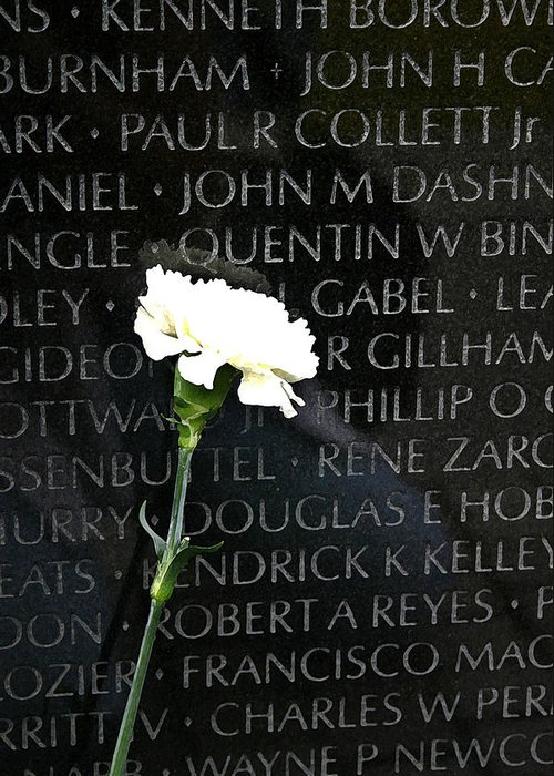 Vietnam Memorial Greeting Card featuring the photograph Not Forgotten by Mary Haber