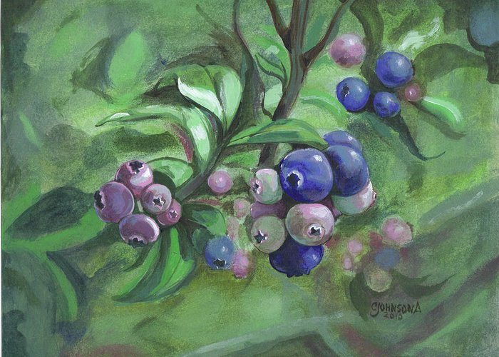 Blueberries Greeting Card featuring the painting Not Quite Ready To Pick 2010 by Cheryl Johnson