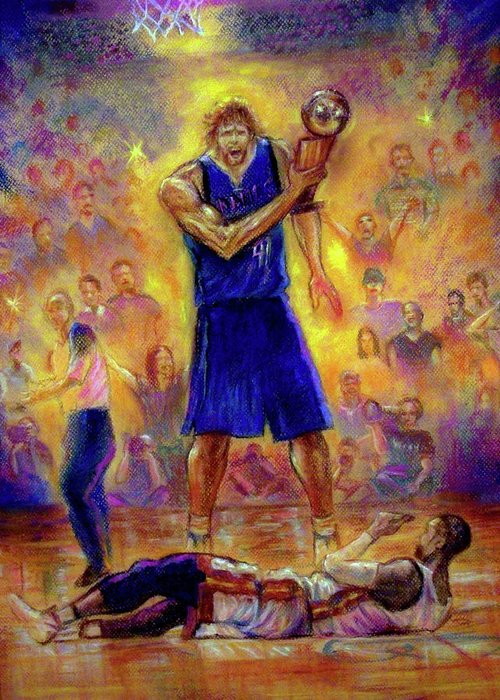 Basketball Greeting Card featuring the pastel Not This Time by Tommy Winn
