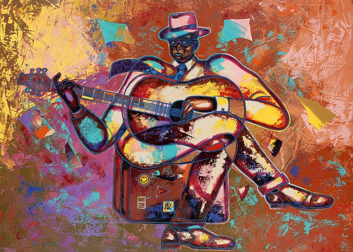 Figurative Greeting Card featuring the painting Nothin' But Da Blues by Larry Poncho Brown