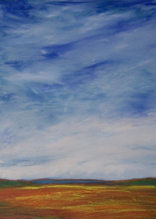 Abstract Landscape Greeting Card featuring the painting Nothing But Blue Skies by Wynn Creasy