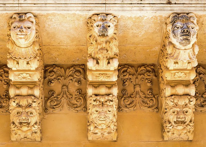 Aged Greeting Card featuring the photograph Noto, Sicily, Italy - Detail Of Baroque Balcony, 1750 by Paolo Modena
