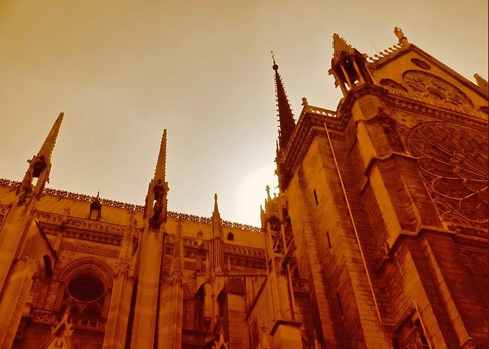 Gothic Greeting Card featuring the photograph Notre Dame At Sunset by Tony Grider