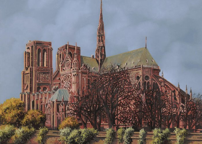 Paris Greeting Card featuring the painting Notre-dame by Guido Borelli