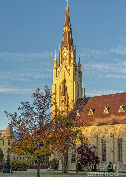 Architecture Greeting Card featuring the photograph Notre Dame University Basilica Of The Sacred Heart by Jerry Fornarotto