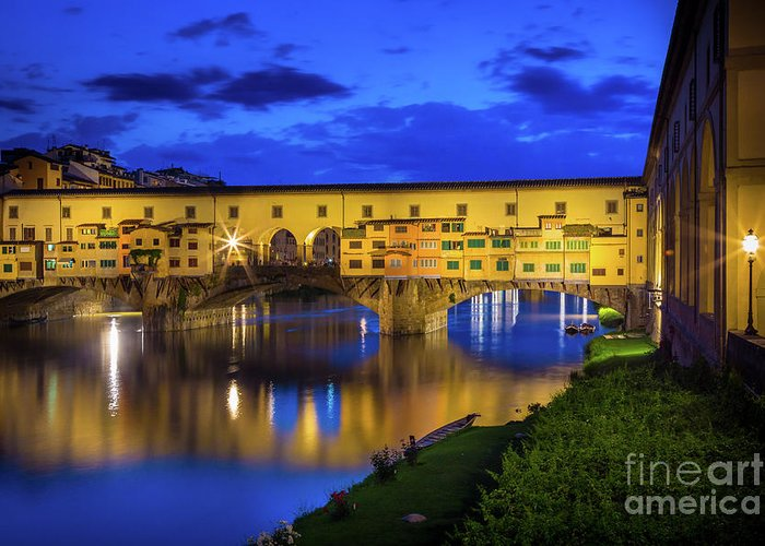 Arno Greeting Card featuring the photograph Notte A Ponte Vecchio by Inge Johnsson