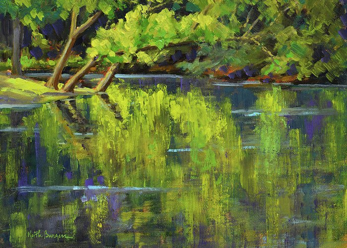 Impressionism Greeting Card featuring the painting Nottely Reflections by Keith Burgess