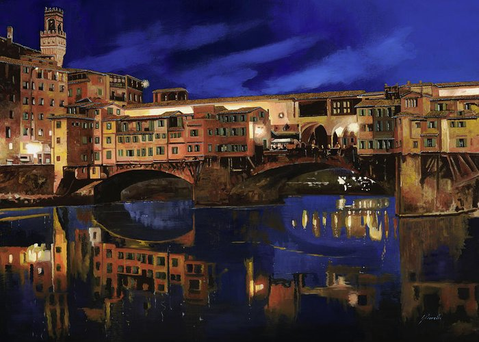 Firenze Greeting Card featuring the painting Notturno Fiorentino by Guido Borelli