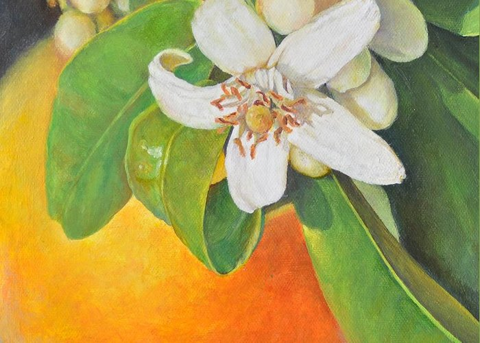 Acrylic Painting Greeting Card featuring the painting Nouvelle Orange by Muriel Dolemieux