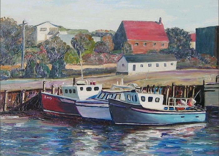 Nova Scotia Greeting Card featuring the painting Nova Scotia Boats by Richard Nowak