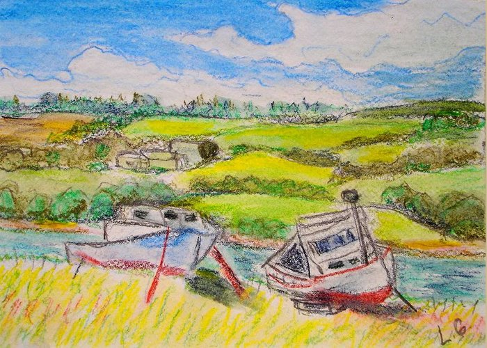Fishing Boats Greeting Card featuring the drawing Nova Scotia Fishing Boats by Lessandra Grimley