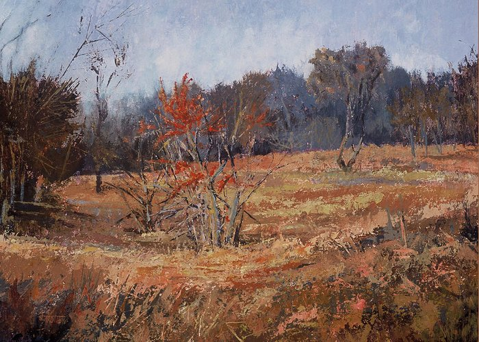 Landscape Greeting Card featuring the painting November Jewels by Jimmie Trotter
