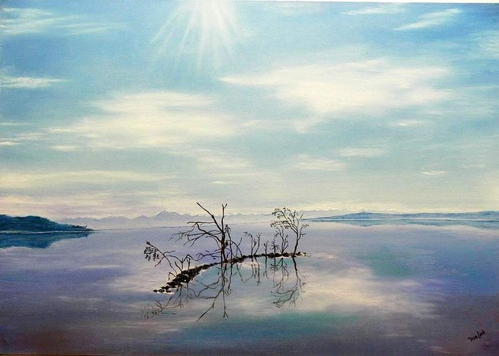 Late Novemeber In Bavaria Greeting Card featuring the painting November On A Bavarian Lake by Helmut Rottler