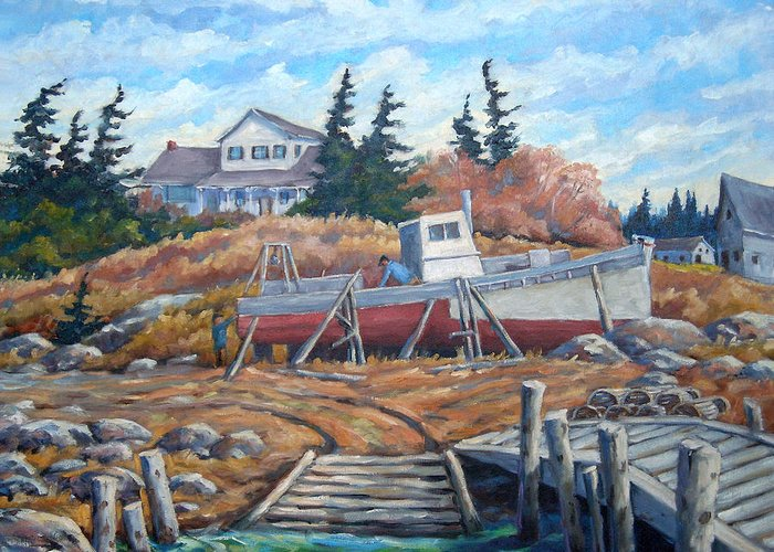 Boat Greeting Card featuring the painting Novia Scotia by Richard T Pranke