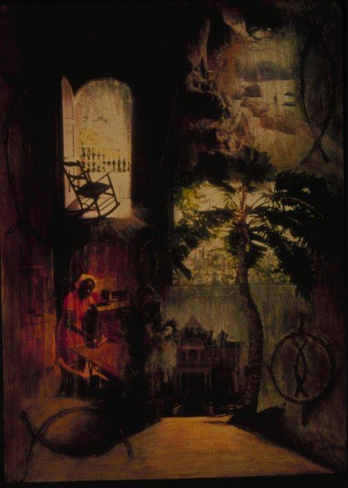 Haiti Greeting Card featuring the painting Nsbidi Of Harmony by Barbara Nesin