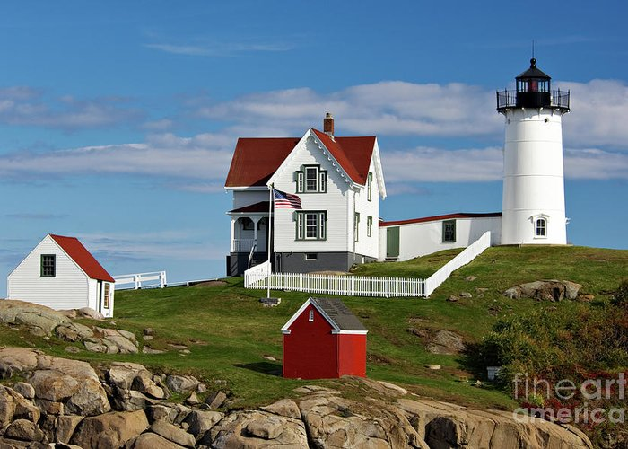 Cape Greeting Card featuring the photograph Nubble Lighthouse - D002365 by Daniel Dempster