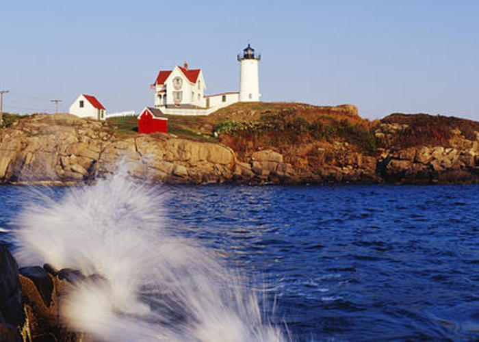 Architecture Greeting Card featuring the photograph Nubble Lighthouse In Daylight by Jeremy Woodhouse