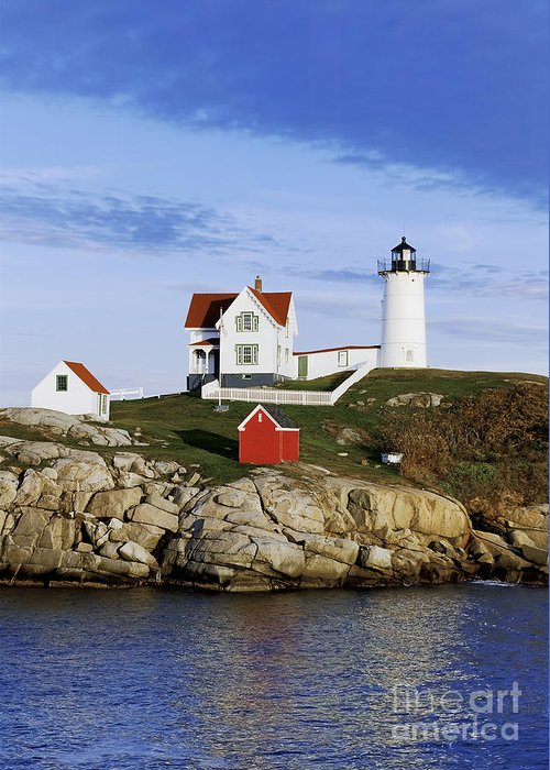 Maine Greeting Card featuring the photograph Nubble Lighthouse by John Greim