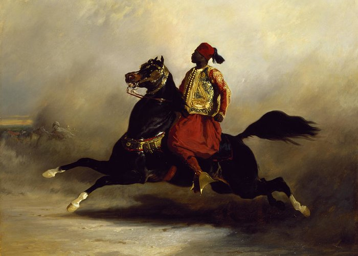 Nubian Greeting Card featuring the painting Nubian Horseman At The Gallop by Alfred Dedreux or de Dreux